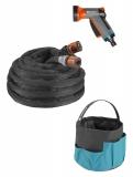 """Шланг текстильный Liano 13 мм (1/2""""), 10 м с комплектом для полива и сумкой для хранения (коннектор стандартный и с автостопом, наконечник для полива балконный арт. 18405, штуцеры резьбовые арт. 18310 и 18200) 18429-20.000.00 - фото"""